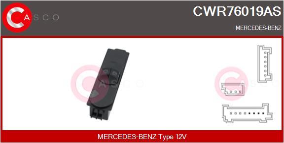 Interrupteur, leve-vitre CASCO CWR76019AS (X1)