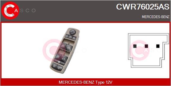 Interrupteur, leve-vitre CASCO CWR76025AS (X1)