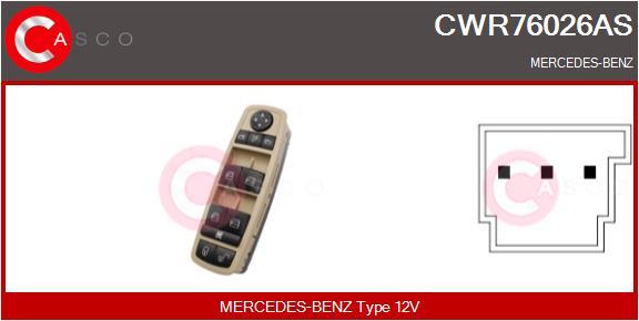 Interrupteur, leve-vitre CASCO CWR76026AS (X1)