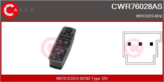 Interrupteur, leve-vitre CASCO CWR76028AS (X1)
