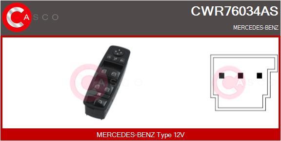Interrupteur, leve-vitre CASCO CWR76034AS (X1)