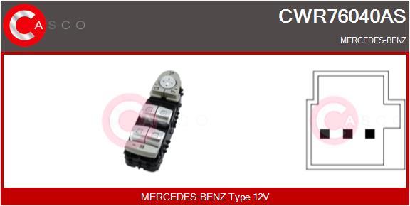 Interrupteur, leve-vitre CASCO CWR76040AS (X1)