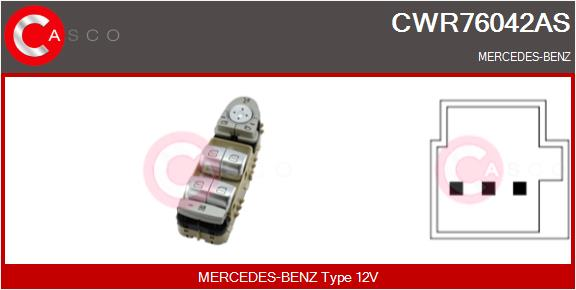 Interrupteur, leve-vitre CASCO CWR76042AS (X1)