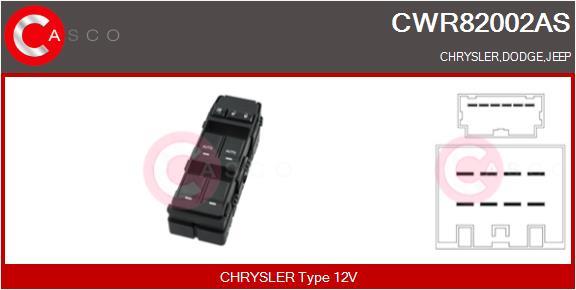 Interrupteur, leve-vitre CASCO CWR82002AS (X1)