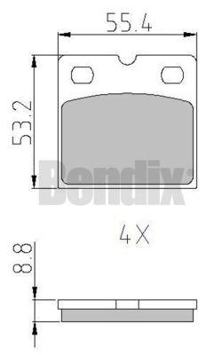 Kit de plaquettes de frein de stationnement BENDIX 510888 (X1)