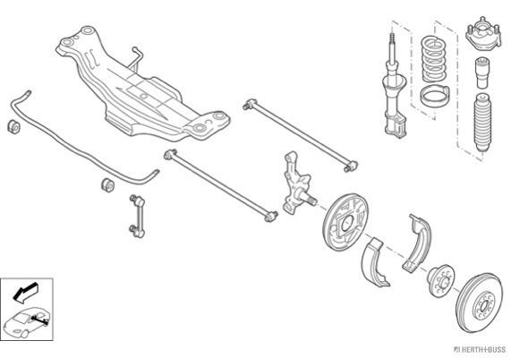 Silentblocs des roues HERTH+BUSS JAKOPARTS N00132-HA (X1)