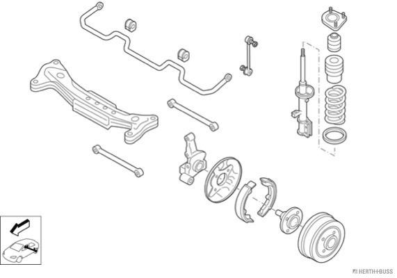 Silentblocs des roues HERTH+BUSS JAKOPARTS N00433-HA (X1)