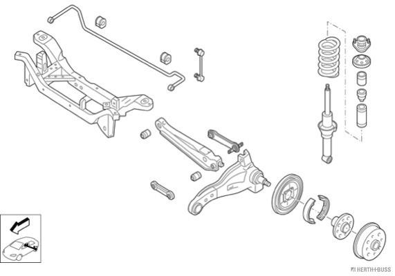 Silentblocs des roues HERTH+BUSS JAKOPARTS N00695-HA (X1)