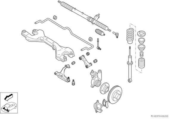 Silentblocs des roues HERTH+BUSS JAKOPARTS N01947-VA (X1)