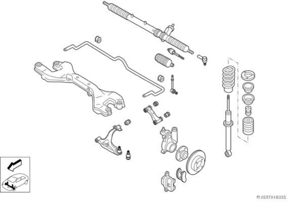 Silentblocs des roues HERTH+BUSS JAKOPARTS N01964-VA (X1)