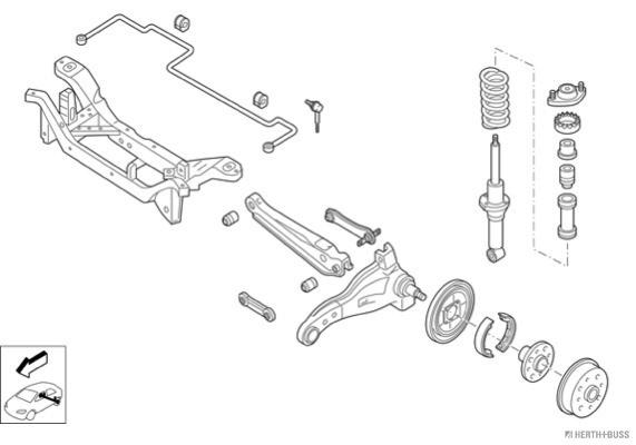 Silentblocs des roues HERTH+BUSS JAKOPARTS N02117-HA (X1)