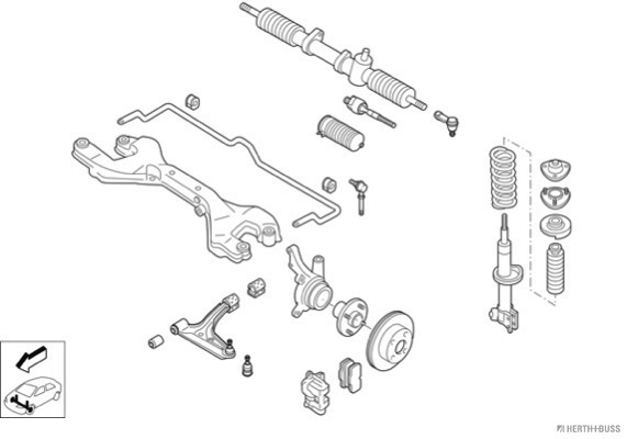 Silentblocs des roues HERTH+BUSS JAKOPARTS N02179-VA (X1)