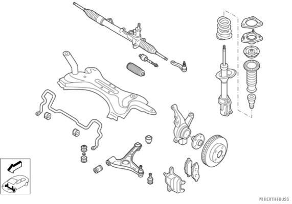 Silentblocs des roues HERTH+BUSS JAKOPARTS N02505-VA (X1)