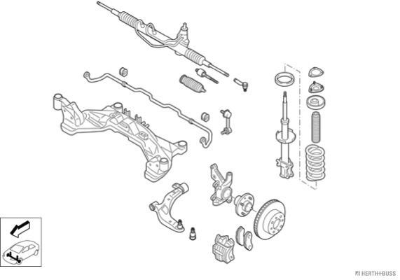 Silentblocs des roues HERTH+BUSS JAKOPARTS N02954-VA (X1)