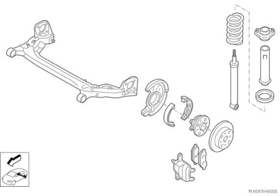 Silentblocs des roues HERTH+BUSS JAKOPARTS N03082-HA (X1)