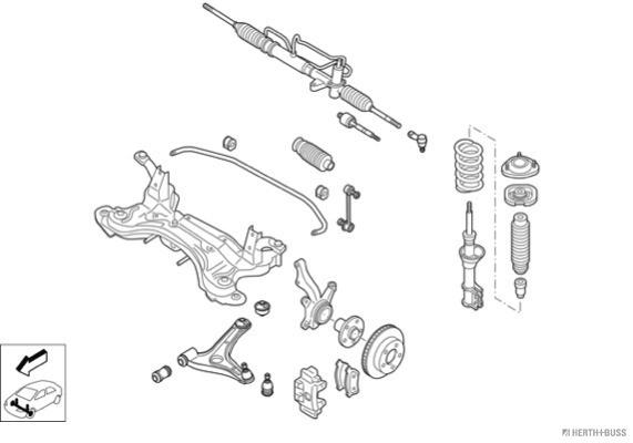 Silentblocs des roues HERTH+BUSS JAKOPARTS N03131-VA (X1)