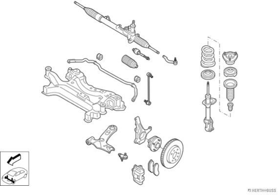Silentblocs des roues HERTH+BUSS JAKOPARTS N03467-VA (X1)