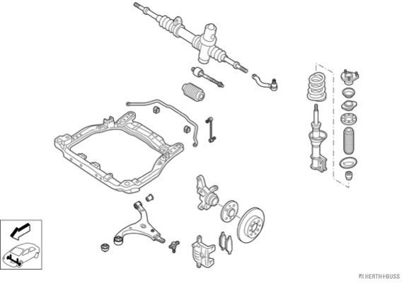 Silentblocs des roues HERTH+BUSS JAKOPARTS N04778-VA (X1)