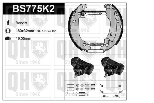kit de frein arrière simple ou prémonté QUINTON HAZELL BS775K2 (X1)