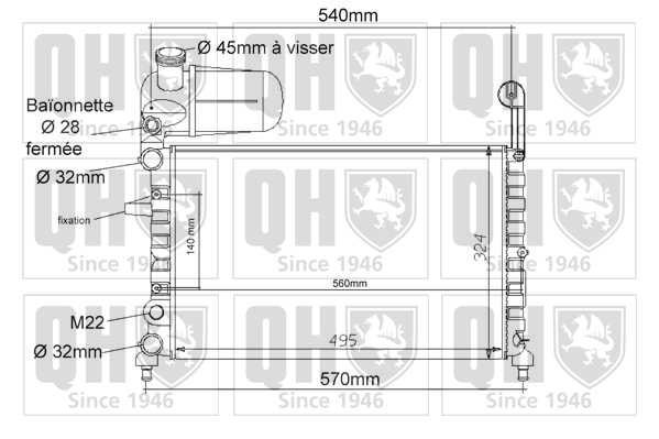 Radiateur de refroidissement QUINTON HAZELL QER1083 (X1)