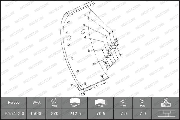Kit de garnitures de frein (machoires)pour frein à tambour FERODO K15742.0-F3549 (Jeu de 4)