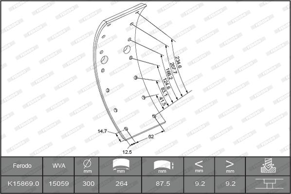 Kit de garnitures de frein (machoires)pour frein à tambour FERODO K15869.0-F3658 (Jeu de 4)
