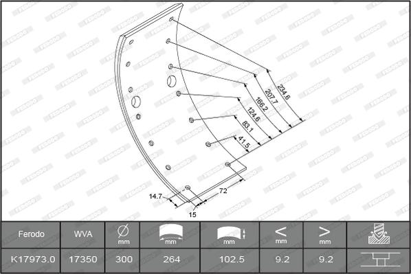 Kit de garnitures de frein (machoires)pour frein à tambour FERODO K17973.0-F3658 (Jeu de 4)