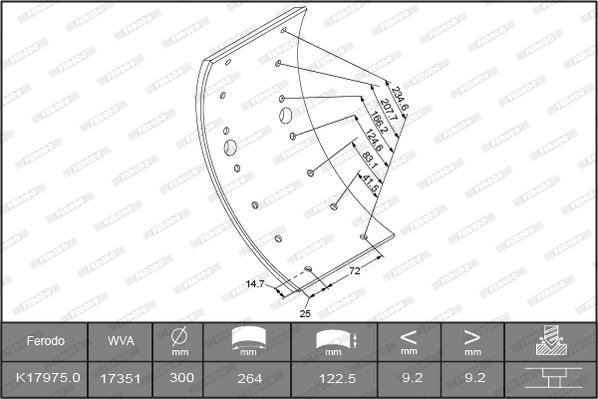 Kit de garnitures de frein (machoires)pour frein à tambour FERODO K17975.0-F3549 (Jeu de 4)