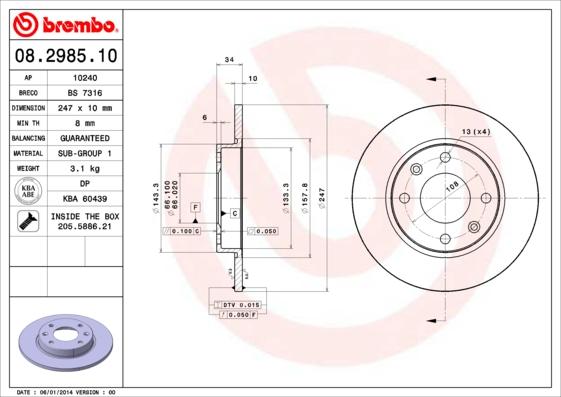 Disque de frein BREMBO 08.2985.10 (Jeu de 2)