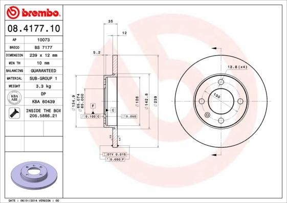 Disque de frein avant BREMBO 08.4177.10 (Jeu de 2)