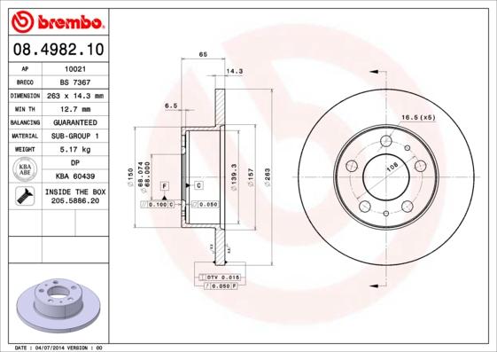 Disque de frein BREMBO 08.4982.10 (Jeu de 2)