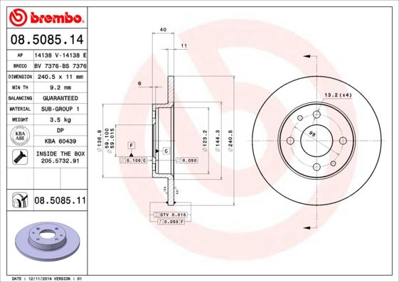 Disque de frein BREMBO 08.5085.14 (Jeu de 2)