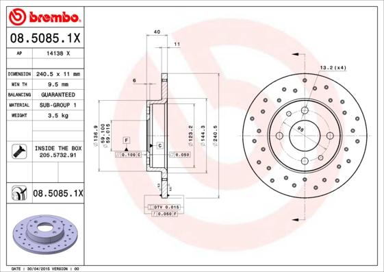 Disque de frein BREMBO 08.5085.1X (Jeu de 2)