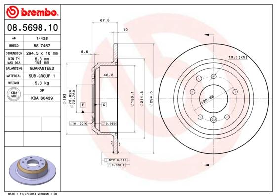 Disque de frein BREMBO 08.5698.10 (Jeu de 2)