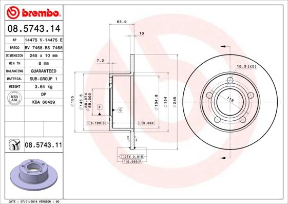 Disque de frein BREMBO 08.5743.14 (Jeu de 2)