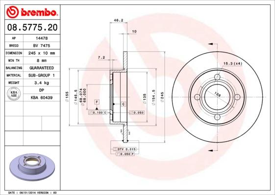 Disque de frein BREMBO 08.5775.20 (Jeu de 2)