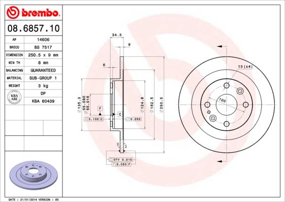 Disque de frein BREMBO 08.6857.10 (Jeu de 2)