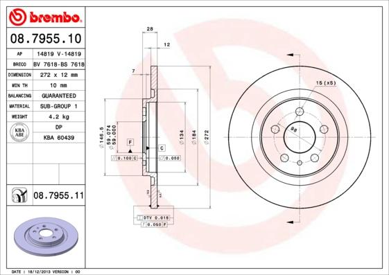 Disque de frein BREMBO 08.7955.10 (Jeu de 2)