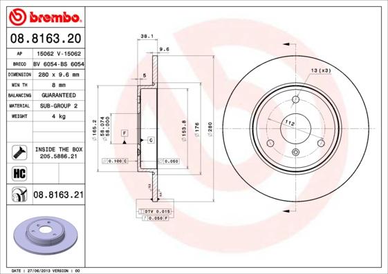 Disque de frein avant BREMBO 08.8163.20 (Jeu de 2)