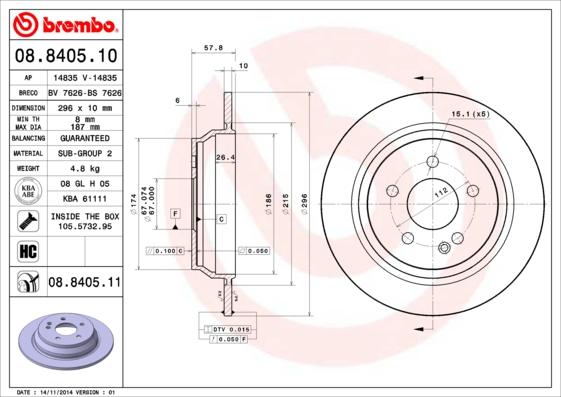 Disque de frein BREMBO 08.8405.10 (Jeu de 2)