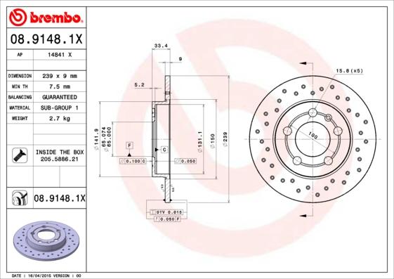 Disque de frein BREMBO 08.9148.1X (Jeu de 2)