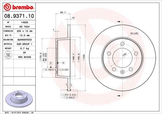 Disque de frein BREMBO 08.9371.10 (Jeu de 2)