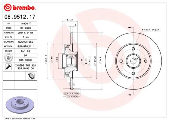 Disque de frein arriere BREMBO 08.9512.17 (X1)