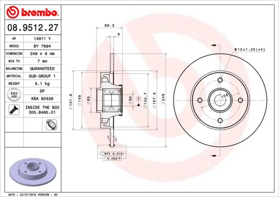 Disque de frein BREMBO 08.9512.27 (X1)