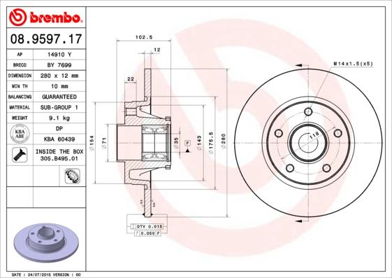 Disque de frein BREMBO 08.9597.17 (X1)