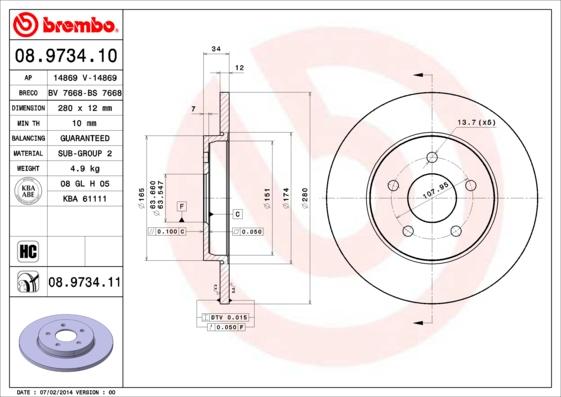 Disque de frein BREMBO 08.9734.11 (Jeu de 2)