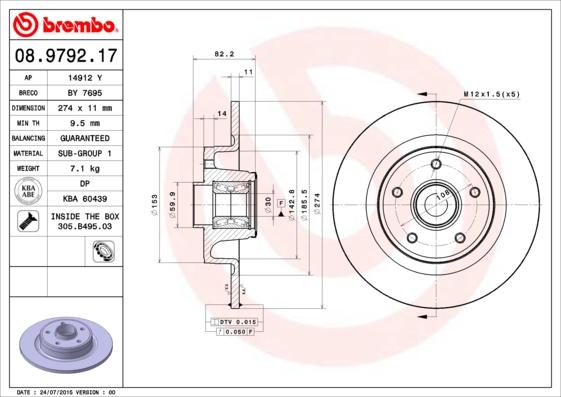 Disque de frein arriere BREMBO 08.9792.17 (X1)