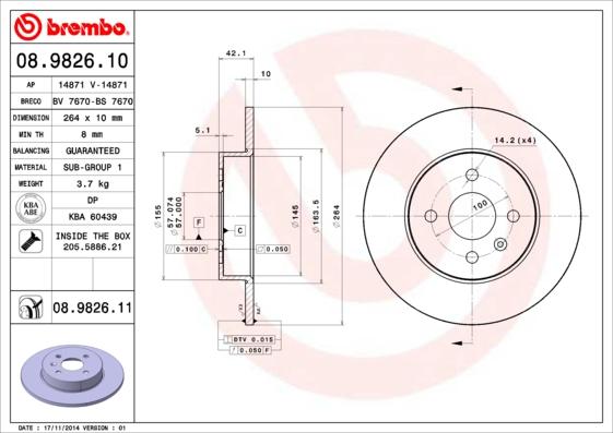 Disque de frein BREMBO 08.9826.11 (Jeu de 2)