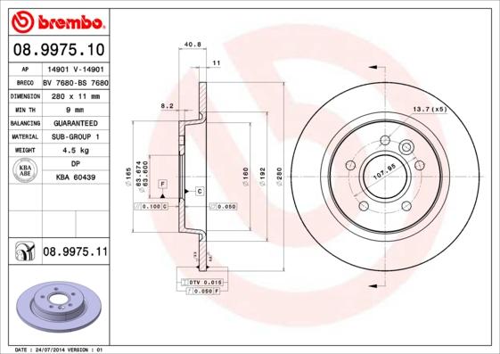 Disque de frein BREMBO 08.9975.11 (Jeu de 2)