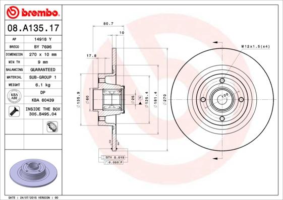 Disque de frein arriere BREMBO 08.A135.17 (X1)